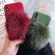 GYPHCA High Quality Big Real Fox Fur Ball Pendant Case For IPhone X XS XR XSMAX Soft Canvas Cover For IPhone6 6s 7 8 PLUS