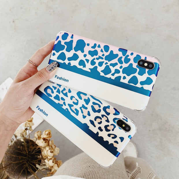 GYPHCA Luxury Blue Ray Leopard Print Couple Mobile Phone Case For Iphone 6 7 8 Plus Silicone Soft Case For IPhone X XR XS MAX