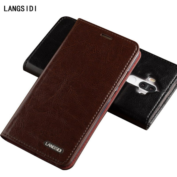 Genuine Leather Case For IPhone X Flip Case For Samsung Galaxy S9 High Quality Customized For Huawei Wallet Holder Card Slots