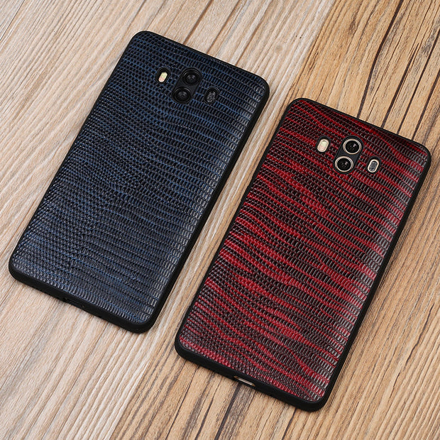 Genuine Leather Phone Case For Huawei Mate 10 Case Lizard Skin Texture Soft Edge Protective Cover For P10 Nova 2 Nova 2s