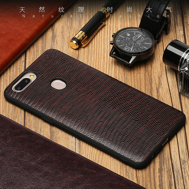Genuine Leather Phone Case For OPPO R11s Plus Case Lizard Skin Texture Soft Edge Protective Cover For OPPO R9 R9s R11 R11s