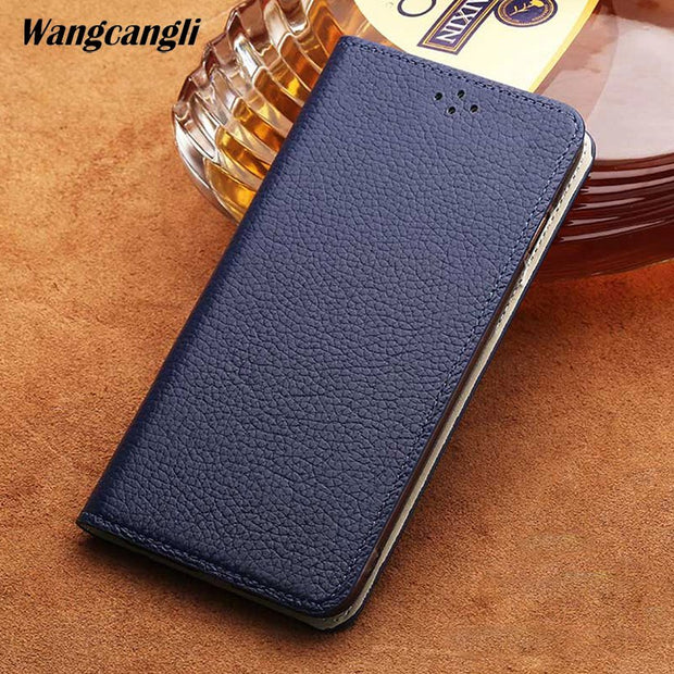 Genuine Leather Waterproof Phone Case For LG G7 Litchi Texture Flip Phone Case With Stand Function Protection Cover