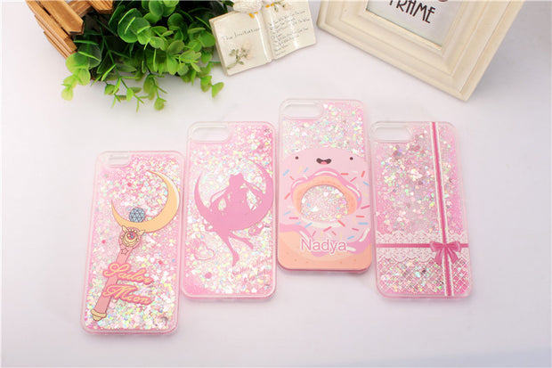 Girls Fashion Painted Transparent Dynamic Liquid Glitter Paillette Sand Quicksand Phone Case For Iphone 6 6S 6plus 7 7 Plus