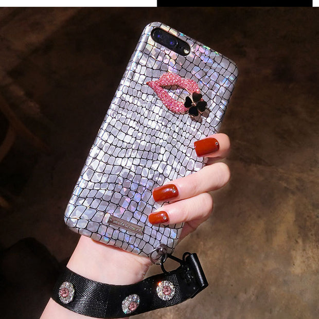 Glitter 3d Red Lips Luxury Rhinestone For IPhone 8 X 6s 7 7plus 6s Case Glitter Hot For IPhone 6 8Plus 7 6plus Cases Rope Female