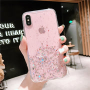 Glitter Bling Stars Drop Glue Coque for Iphone 11 Pro Max Case with Long Strap& Kickstand Finger Ring Cover for Iphone 11 Case