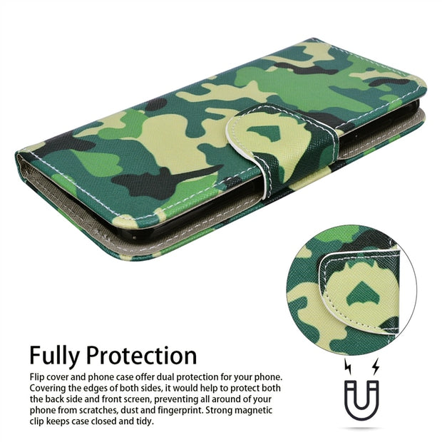 GrandEver Flip Leather Case For Huawei Honor 9 Lite P9 Lite Mini P Smart Mate 10 Pro Cover For Camouflage Green Butterfly Cubs