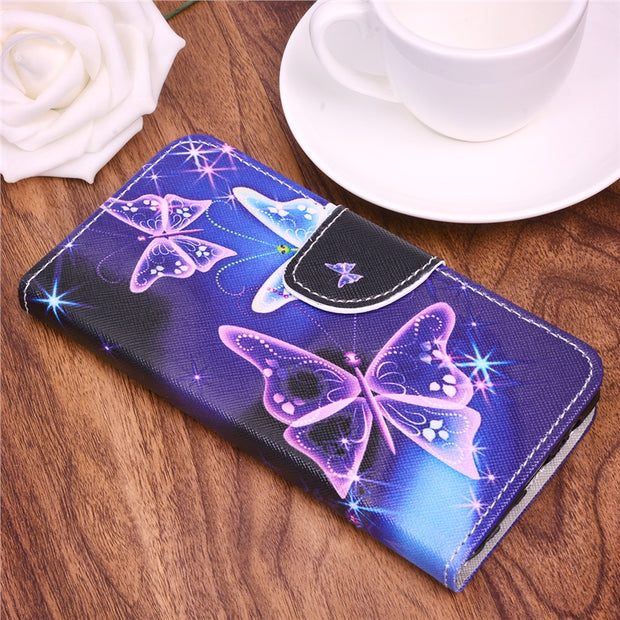 GrandEver Flip Leather Case For Samsung Galaxy A5 A8 2018 S9 Cover For Camouflage Green Butterfly Coque For A7 A8 Plus 2018