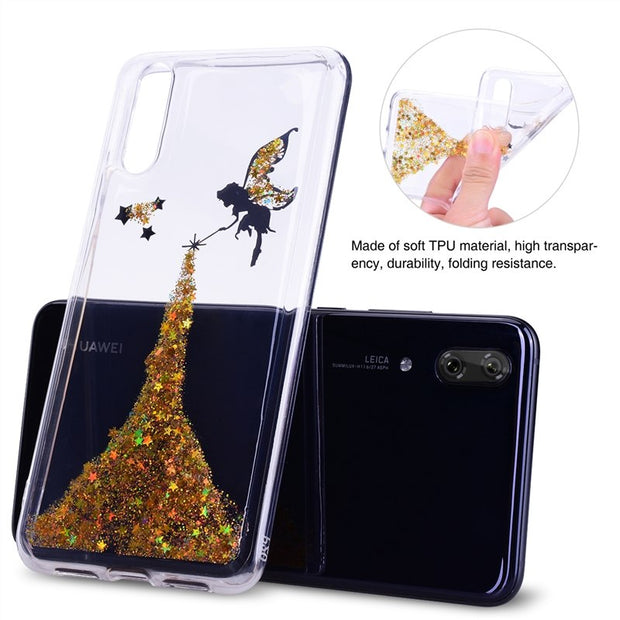 GrandEver Soft Case For Huawei P20 Lite Cover For Bling Glitter Butterfly Angel Stars Transparent Coque For Huawei P20 Lite