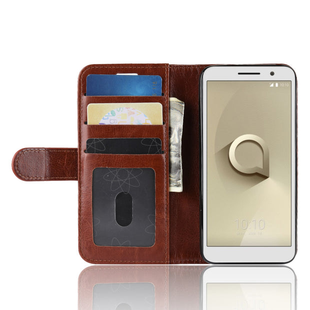 HUDOSSEN For Alcatel 1 5033D Case Luxury Flip Leather Back Cover Phone Accessories Bags For Alcatel 1 Alcatel1 Case Capa