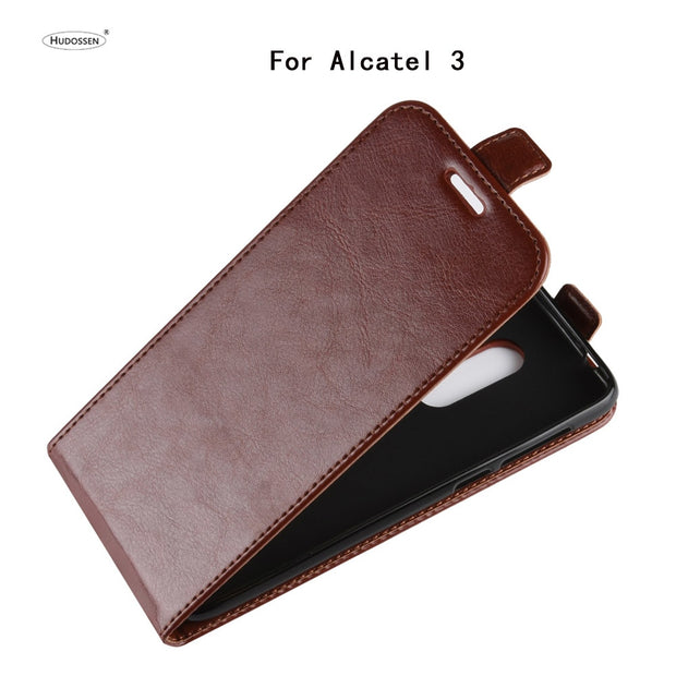 HUDOSSEN For Alcatel 3 5052D 5052Y Case Luxury Flip Leather Back Cover Phone Accessories Bags Skin Coque For Alcatel 3 Case