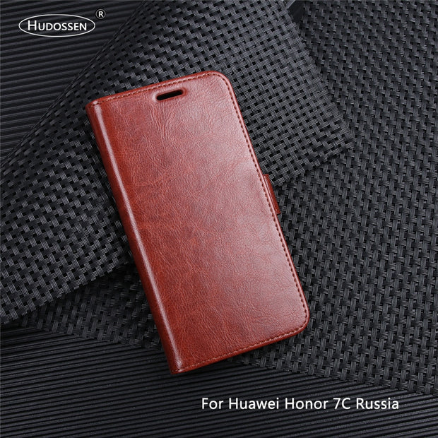 HUDOSSEN For Huawei Honor 7C Russia Version Case Luxury Flip PU Leather Back Cover Phone Accessories Bag For Huawei AUM-L41 Para