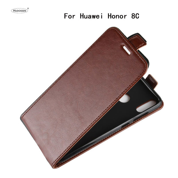 HUDOSSEN For Huawei Honor 8C BKK-TL00 Phone Case Luxury Vertical Flip PU Leather Cover Coque For Honor 8C Protective Case Para