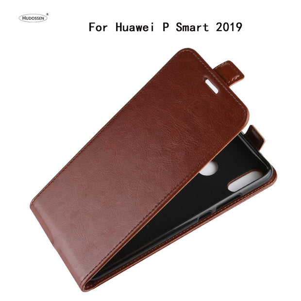 HUDOSSEN For Huawei P Smart 2019 POT-LX3 POT-LX1 Case Luxury Flip PU Leather Silicone Phone Cover Case For Huawei P Smart 2019