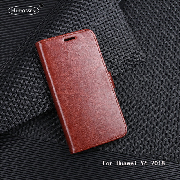 HUDOSSEN For Huawei Y6 2018 ATU-LX3 ATU-L11 ATU-L21 ATU-L22 Case Luxury Flip PU Leather Back Cover Phone Accessories Bag Fundas