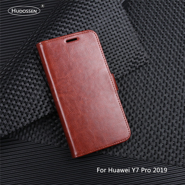 HUDOSSEN For Huawei Y7 PRO 2019 DUB-LX2 Case Luxury Flip PU Leather Phone Case For Y7 Pro 2019 Book Style Wallet Stand Cover