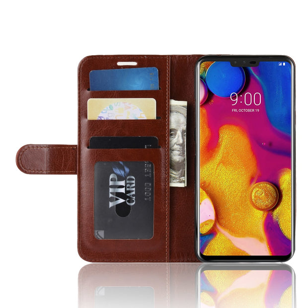 HUDOSSEN For LG V40 ThinQ V405QA7 Phone Case Luxury Vertical Flip PU Leather Cover Coque For LG V40 ThinQ Protective Case Para
