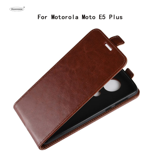 HUDOSSEN For Motorola Moto E5 Plus XT1922-5 Wallet Flip Leather Case Coque For Moto E Plus 5th Gen 2018 Phone Back Cover Case