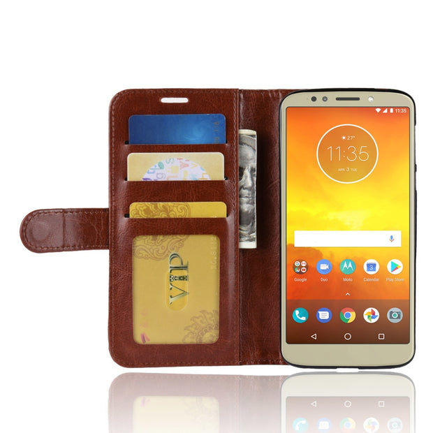 HUDOSSEN For Motorola Moto G6 Play XT1922-1 Case Luxury PU Leather Back Cover For Moto G6 Play Case Flip Protective Phone Bag