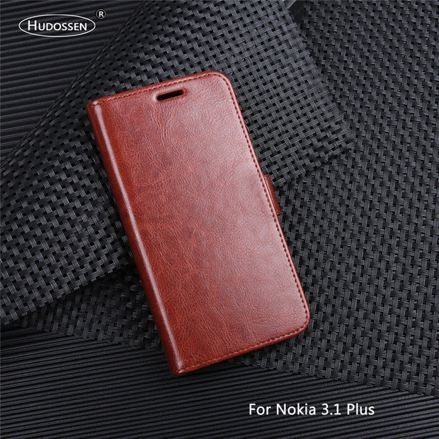 HUDOSSEN For Nokia 3.1 Plus TA-1118 Case Luxury Flip PU Leather Phone Case Capa For Nokia 3.1 Plus Book Style Wallet Stand Cover