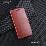 HUDOSSEN For Nokia 5.1 Case Luxury Flip PU Leather Back Cover Phone Accessories Bags Skin For Nokia 5.1 2018 TA-1061 Case