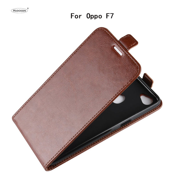 HUDOSSEN For OPPO F7 Case Luxury PU Leather Back Cover For OPPO F7 F 7 Flip Protective Phone Bags Skin