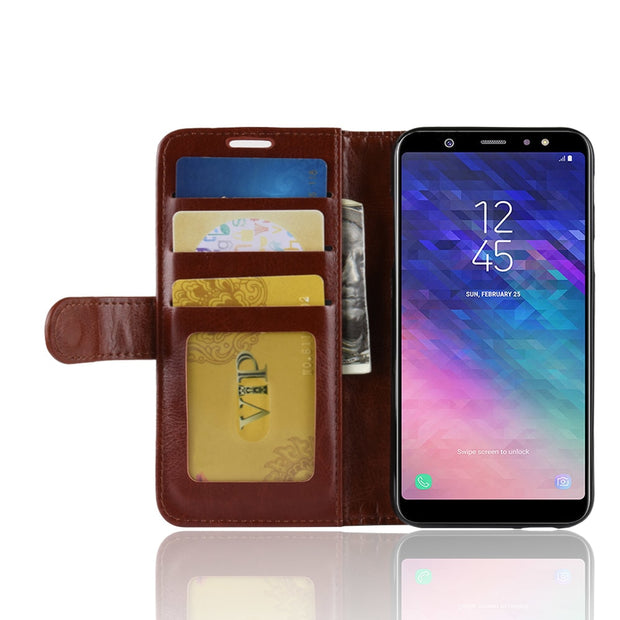 HUDOSSEN For Samsung Galaxy A6 2018 A600F Case Luxury PU Leather Back Cover Coque For Galaxy A6 2018 Case Flip Protective Bags