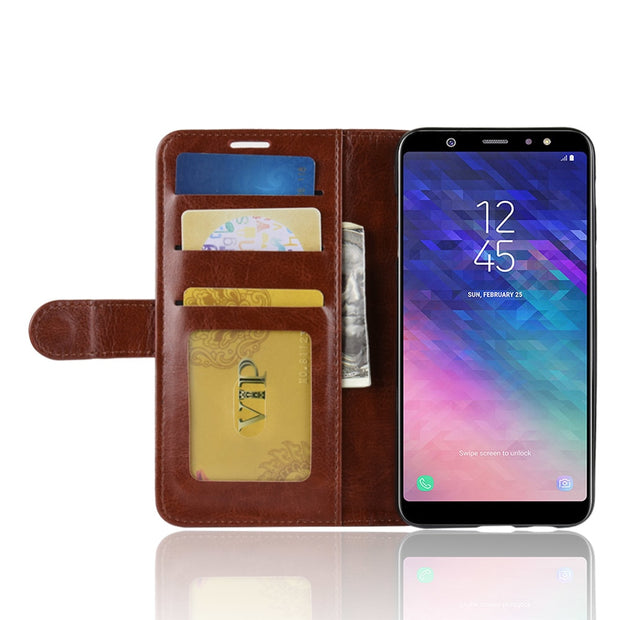 HUDOSSEN For Samsung Galaxy A6+ 2018 A605F Case Luxury PU Leather Back Cover For Galaxy A6 Plus 2018 Case Flip Protective Bags