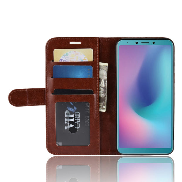 HUDOSSEN For Samsung Galaxy A6S G6200 Case Luxury PU Leather Back Cover Coque For Galaxy A6s Case Flip Protective Phone Bags