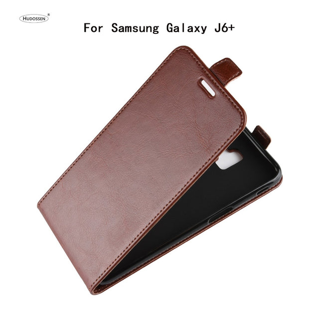 HUDOSSEN For Samsung Galaxy J6+ J610F Phone Case Luxury Vertical Flip PU Leather Cover Coque For Galaxy J6 Prime Protective Case