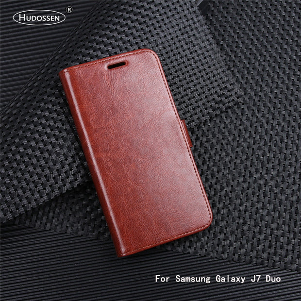 HUDOSSEN For Samsung Galaxy J7 Duo J720F Case Luxury PU Leather Back Cover For Samsung Galaxy J7 Duo Case Flip Protective Bags