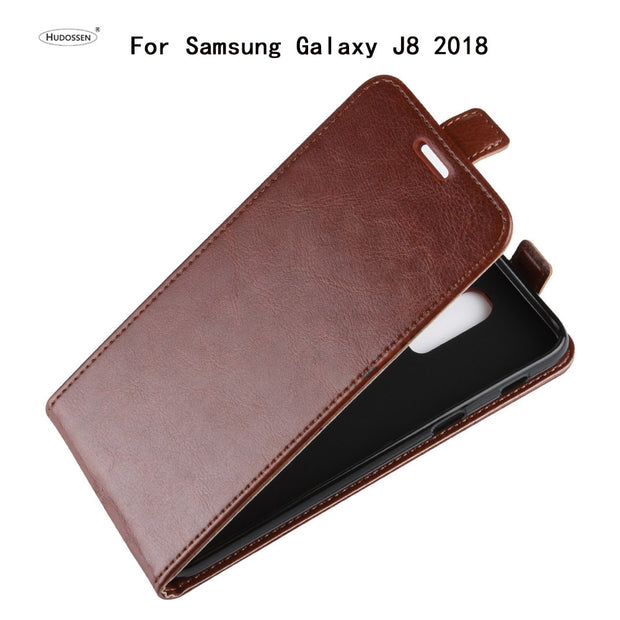 HUDOSSEN For Samsung Galaxy J8 2018 J800F Case Luxury Flip Leather Back Cover Phone Accessories Bags Coque For Galaxy J8 2018