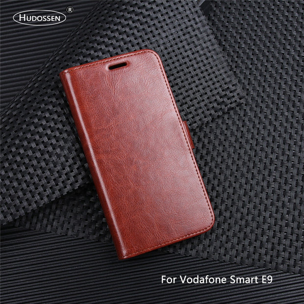 HUDOSSEN For Vodafone Smart E9 Case Luxury PU Leather Back Cover For Vodafone Smart E9 VFD520 Case Flip Protective Phone Bag