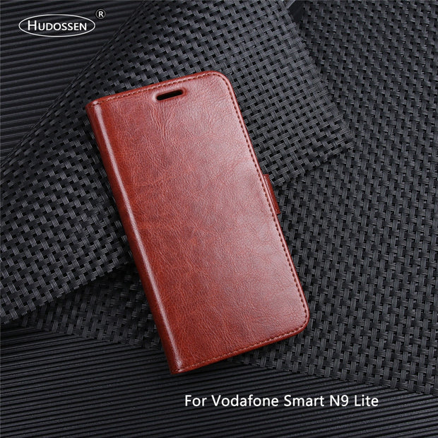 HUDOSSEN For Vodafone Smart N9 Lite Case Luxury PU Leather Back Cover For Vodafone N9 Lite Case Flip Protective Phone Bags Skin