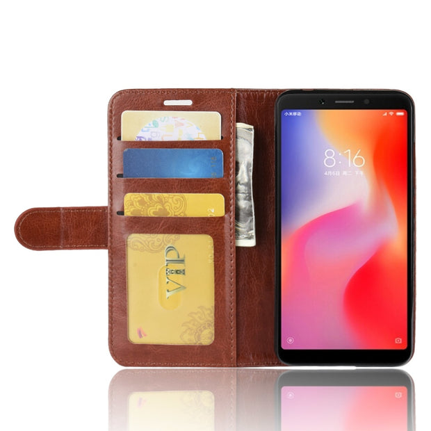 HUDOSSEN For Xiaomi Redmi 6 Case Luxury Flip PU Leather Silicone Phone Back Cover Protective Cases For Xiaomi Redmi 6 Coque