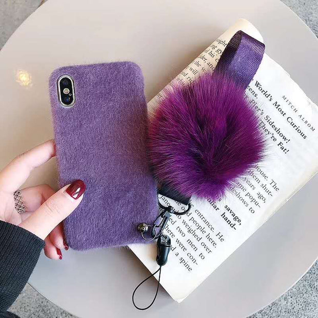 Hair Ball Plush For IPhone 6S 7 8 Plus X XS Max XR Mobile Phone Shell Rope Anti Blink Personality Tide Female 7 Innovate Purple