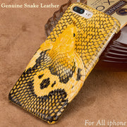 Handmade Genuine Snake Leather 3D Head Case For Iphone X 8 Plus 7 6S 6 Customize Case Back Cover For Apple Iphone 5 5S 6 SE 10 S