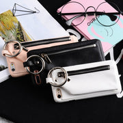Hangrui For Iphone 7 8 Case Leather Cases + PC Ring Buckle Wallet Phone Bag Girls Handbag For Iphone 6S 6 8 Plus Back Case