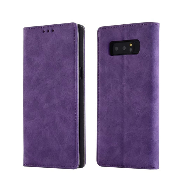 Hazy Beauty For Samsung Galaxy Note8 Case Luxury Matte Flip Leather Wallet Purple Case Cover For Samsung Galaxy Note8 Case Cover