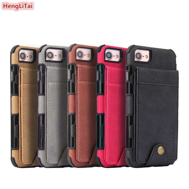 HengLiTai Denim Pattern Wallet Case For Iphone 8 Multi Card Holders Case Cover For Iphone 6 6s/7/8 Phone Shells