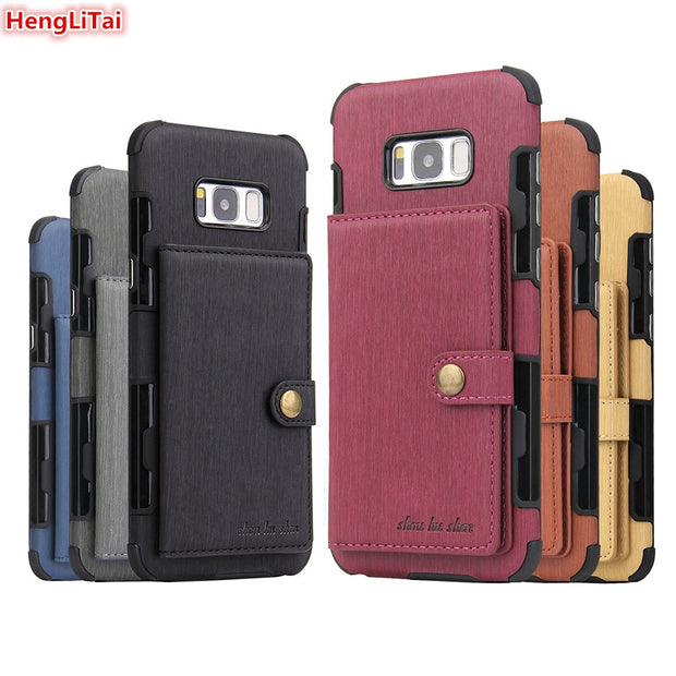 HengLiTai Wire Drawing Pattern Wallet Case Multi Card Holders Case Cover For Samsung Galaxy S8/S8 Plus Metal Button Phone Shells