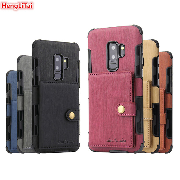 HengLiTai Wire Drawing Pattern Wallet Case Multi Card Holders Case Cover For Samsung Galaxy S9/S9 Plus Metal Button Phone Shells
