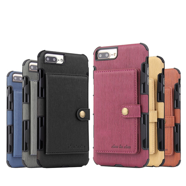 HengLiTai Wire Drawing Pattern Wallet Case Multi Card Holders Case Cover For Iphone 6splus/7plus/8plus Metal Button Phone Shells