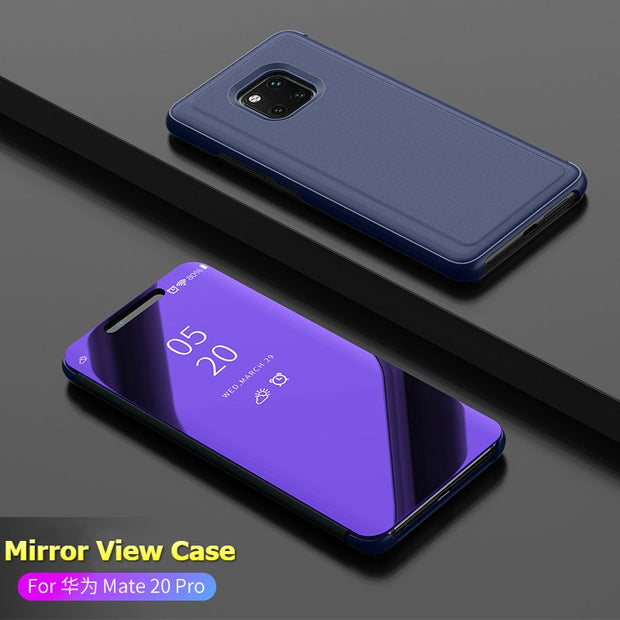 HereCase Smart View Mirror Case For Huawei Mate 20 Pro Cover Clear Leather Flip Case For Huawei Mate 20 Lite Phone For Mate 20