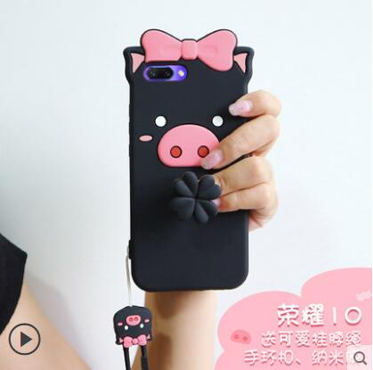 Huawei Honor 10 Case Silicon,3D Cartoon Lovely Pig Silicone Ring With Lanyard Phone Case For Huawei Honor 10 Honor Note 10 Cover