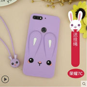 Huawei Honor 7c Case Silicone 3d Cute Rebbit Lanyard Adorable Carton Phone Case For Huawei Honor 7c Pro Cover Fundas 5.99 Inch