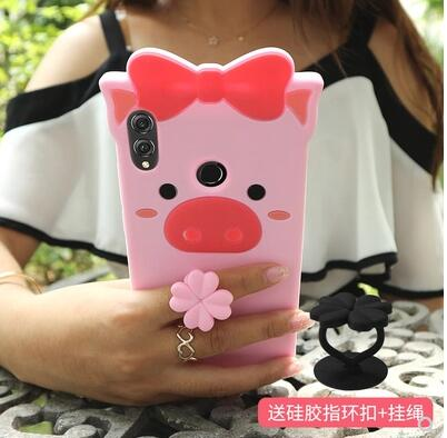 Huawei Honor 8x Case Silicon,3D Cartoon Lovely Pig Silicone Ring With Lanyard Phone Case For Huawei Honor 8x Max Cover Case