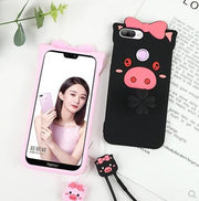 Huawei Honor 9 Lite Case Silicone,3D Cartoon Lovely Pig Silicone Ring With Lanyard Phone Case For Huawei Honor 9 Lite Cover Case