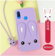 Huawei Nova 3i Case Siliconer ,luxury 3D Cartoon Cute Silicone Fashion With Lanyard Back Case For Huawei Nova 3 3i Cover