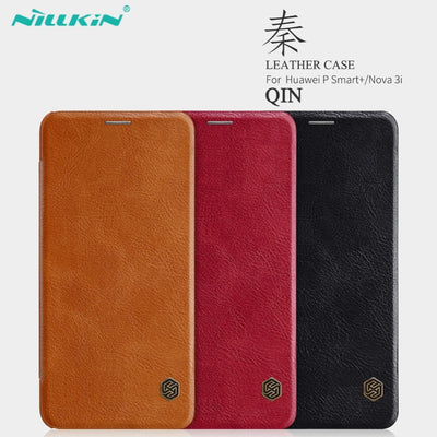 Huawei Nova 3i Leather Case NILLKIN Qin Series Wallet Flip Cover Case For Huawei P Smart+ Genuine Flip Leather Case Phone Cover