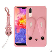 Huawei P20 Case Silicone 3d Cartoon Rabbit Series With Lanyard Adorable Carton Phone Case For Huawei P20 P20 Pro Cover Fundas